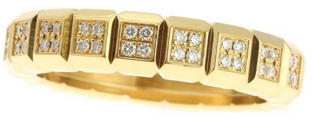 ChopardChopard 750 Yellow Gold Ice Cube Diamond Ring Size 5.75