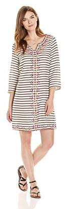 Ella Moon Women's Livi 3/4 Sleeve Striped Neon Center Embellished Shift Dress