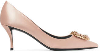 Roger Vivier Flower Strass Crystal-embellished Satin Pumps - Neutral