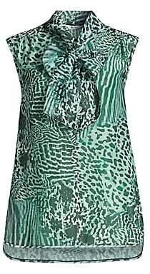 Max Mara Women's Ribelle Sleeveless Animal Print Tie Neck Blouse