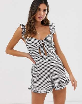 Fashion Union beach romper with tie detail in black and white gingham