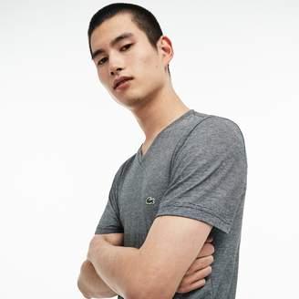 Lacoste Men's V-Neck Pinstriped Cotton Jersey T-shirt