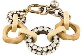 Lanvin Crystal, Wood & Resin Link Bracelet