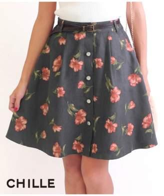 ANAP (アナップ) - アナップ [CHILLE]ベルト付フェイクスウェード花柄スカート