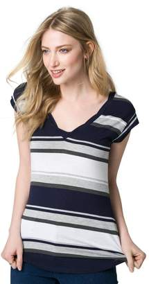 Le Château Women's Stripe Jersey V-Neck Tee,M