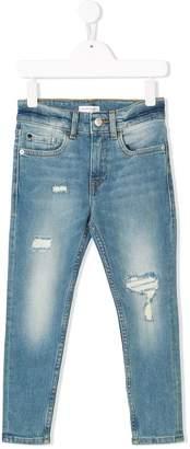 Calvin Klein Kids ripped detail slim jeans