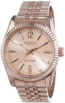 Madison New York NEW YORK MADISON Unisex Quartz Watch with White Dial Analogue Display and Silver Stainless Steel Plated Bracelet Glamour L4791E2