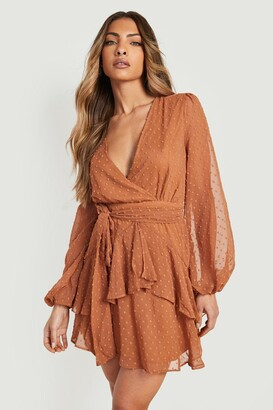boohoo Ruffle Hem Dobby Chiffon Mini Dress