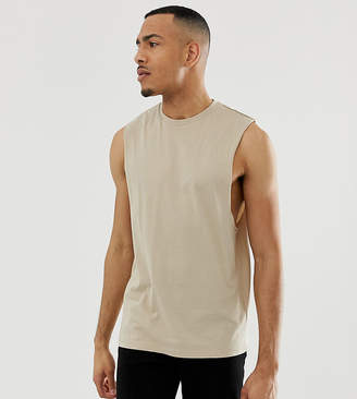 7863802ea06c7f BEIGE Asos Design ASOS DESIGN Tall organic relaxed sleeveless t-shirt with  dropped armhole in