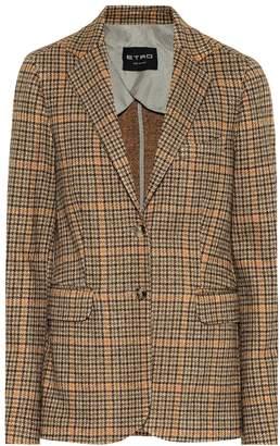 Etro Houndstooth wool-blend blazer