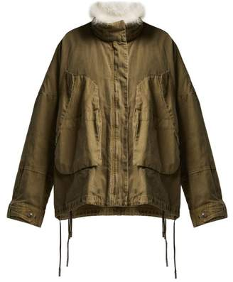 Ys Army - Shearling Trimmed Cotton Jacket - Womens - Khaki