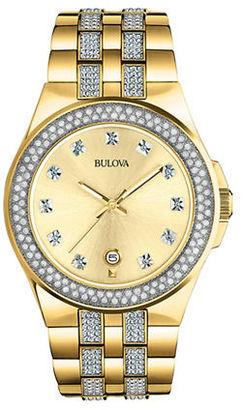 Bulova Mens' Swarovski Crystal Goldtone Watch, 98B174 $499 thestylecure.com