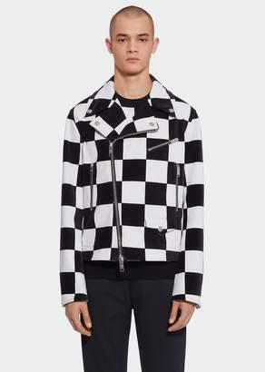 Versace Tropical Checkerboard Biker Jacket