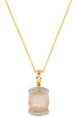 14K Pink Chalcedony & Diamond Pendant Necklace
