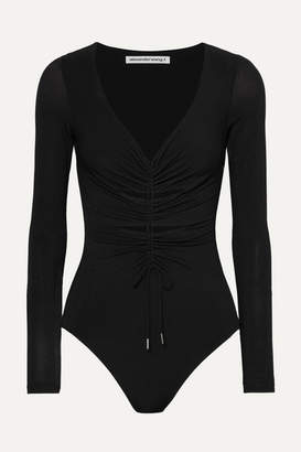 Alexander Wang Cut-out Ruched Stretch-jersey Thong Bodysuit - Black