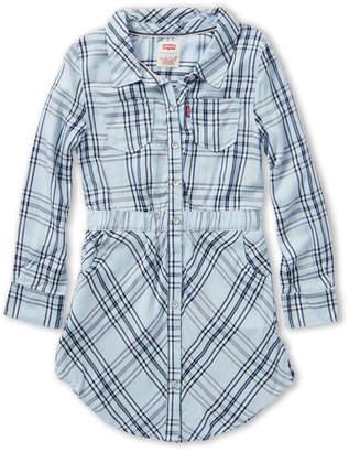 Levi's Girls 4-6x) Long Sleeve Acid Wash Plaid Shirtdress