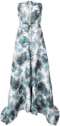 Nicole Miller foliage print strapless gown
