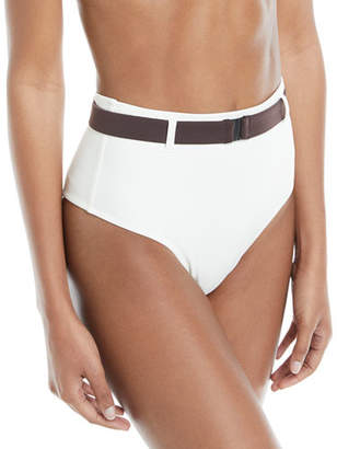 Solid and Striped Josephine Belted High-Waist Swim Bikini Bottoms