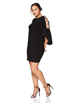 MSK Women's Plus Size Bell Dress with Rhinestone Sleeve Detail
