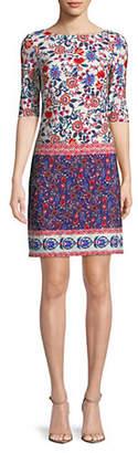 Eliza J Mixed Floral Print Shift Dress
