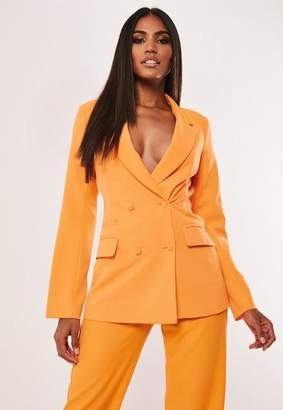 Missguided Tall Neon Orange Co Ord Button Double Breasted Blazer