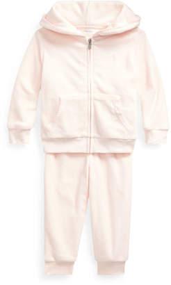 Ralph Lauren Childrenswear Velour Hooded Jacket w/ Matching Pants, Size 6-24 Months