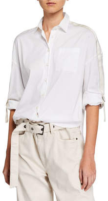 Brunello Cucinelli Monili Beaded Ribbon-Sleeve Button-Front Blouse