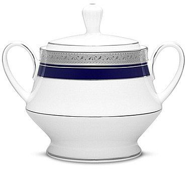 NoritakeNoritake Crestwood Cobalt Etched Platinum Porcelain Sugar Bowl with Lid