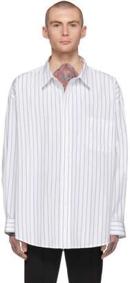 Balenciaga White and Blue Oversized Pinstripe Shirt