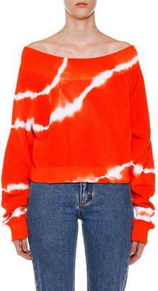 MSGM Tie-Dye Off-the-Shoulder Long-Sleeve Sweater