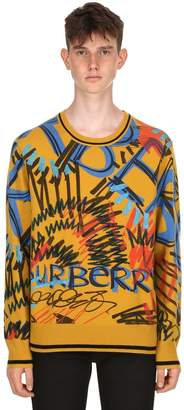 Burberry Slim Fit Graffiti Cashmere Knit Sweater