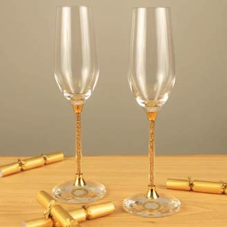 5bf61ba499d Swarovski Diamond Affair Pair Of Champagne Flutes With Gold Crystals