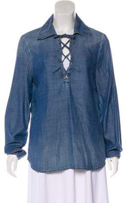 Frame Lace-Tie Chambray Blouse