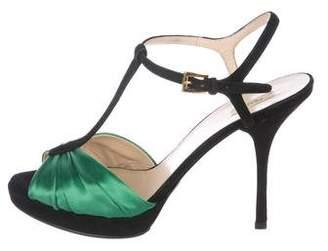 Prada Satin T-Strap Sandals