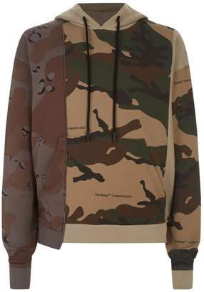 Off-White Off White Reconstructed Camouflage Hoodie