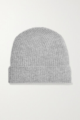 Johnstons of Elgin Ribbed Cashmere Beanie - Light gray d6dc31010b03