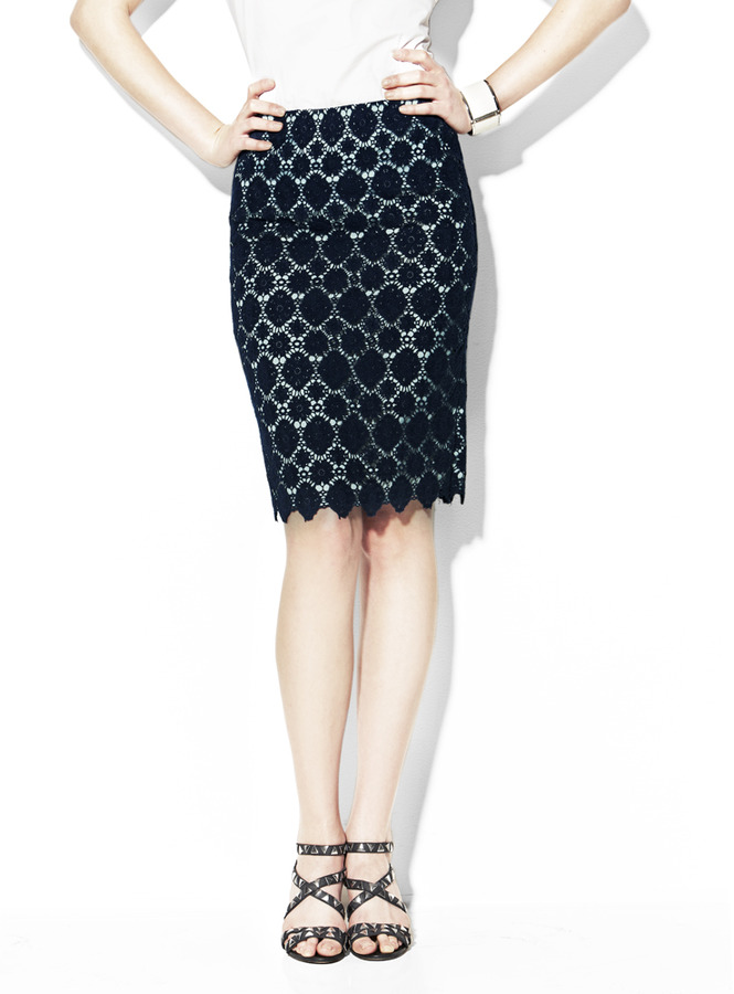 Vince Camuto Embroidered Lace Pencil Skirt