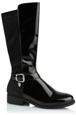 George Black Patent Glitter Boots