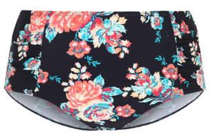 Navy Floral Print High Waisted Bikini Bottoms