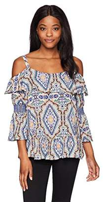 Democracy Women's Printed Cold Shoulder Top Smocked Sleeve