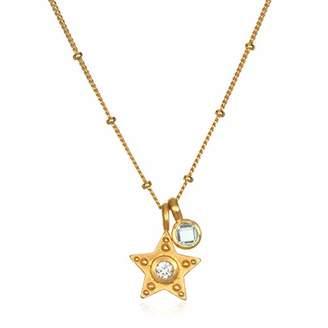 Satya Jewelry Women's Topaz Gold Star Pendant Necklace 18-Inch
