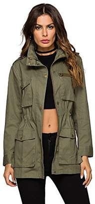 MEHEPBURN Women's Lightweight Military Anorak Parka Jacket with Drawstring Hooded 2XL