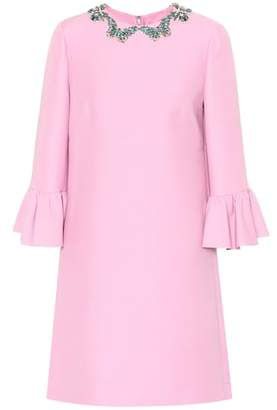 Valentino Embellished silk and wool dress