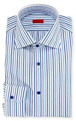 Isaia Striped Mitered-Cuff Dress Shirt, White/Blue