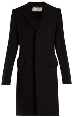 Saint Laurent Single Breasted Wool Coat - Womens - Black