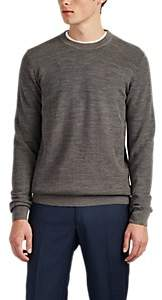 Brioni Men's Honeycomb-Knit Wool Crewneck Sweater - Gray