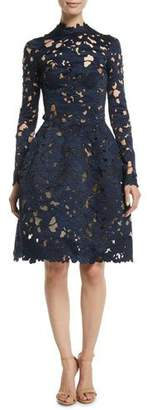 Oscar de la Renta Long-Sleeve Floral-Guipure Fit-and-Flare Cocktail Dress