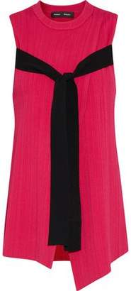 Proenza Schouler Tie-Front Wrap-Effect Ribbed-Knit Sweater