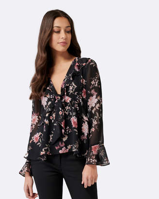 Forever New Willa Tie Front Ruffle Blouse