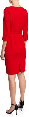 Badgley Mischka V-Neck 3/4-Sleeve Asymmetric Peplum Sheath Dress w/ Belt